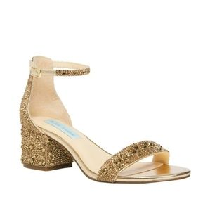 BLUE by Betsey Johnson SB-MARI Gold Block Heels